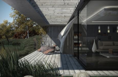 Terrasse, eau, perspective, extérieur, 3ds max, rendu, végétation, modélisation, vray, texture, lumière