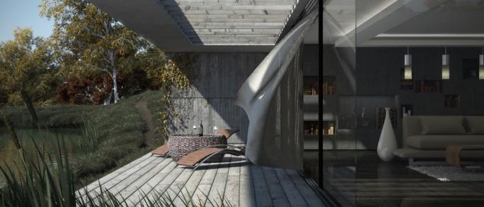 Terrasse eau perspective extérieur 3ds max rendu végétation