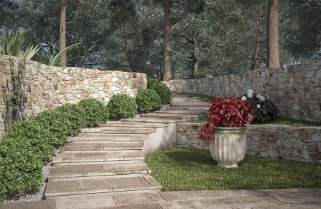 jardin, paysager, architecte, végétation, rendu